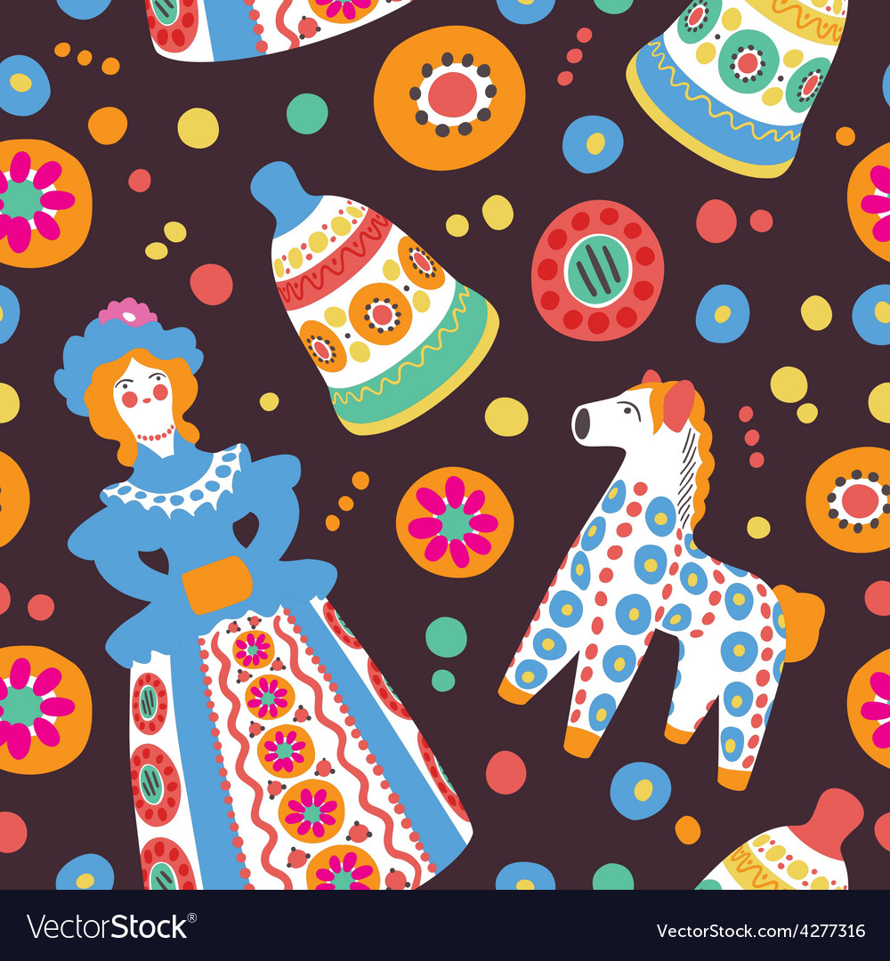 Russian souvenir dymkovo toys seamless pattern vector | Price: 1 Credit (USD $1)