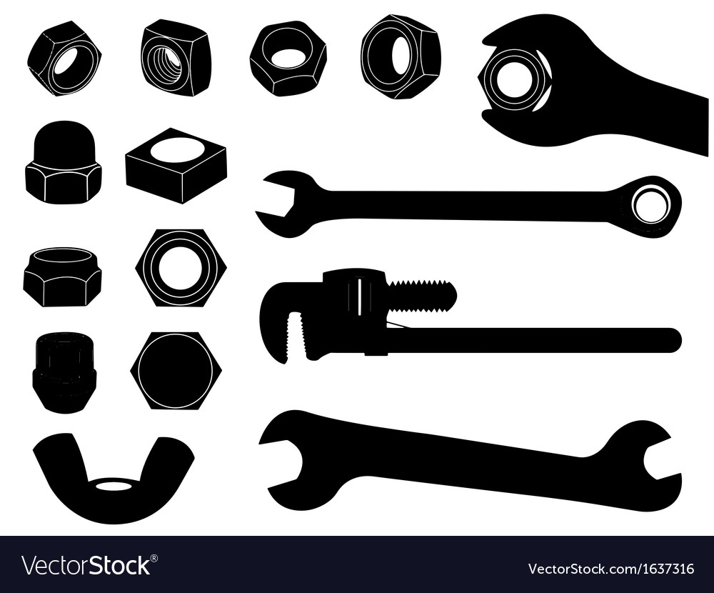 Screw nut and wrench vector | Price: 1 Credit (USD $1)