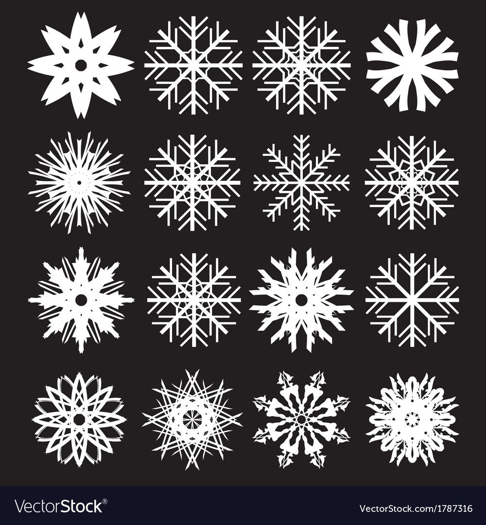 Snowflakes set on black background vector | Price: 1 Credit (USD $1)