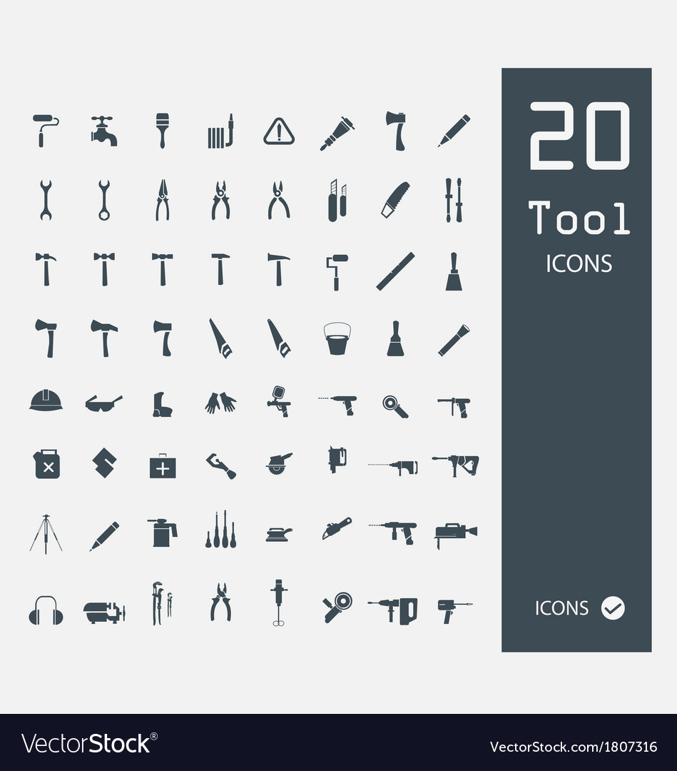 Tool icon set set of 64 quality icons vector | Price: 1 Credit (USD $1)