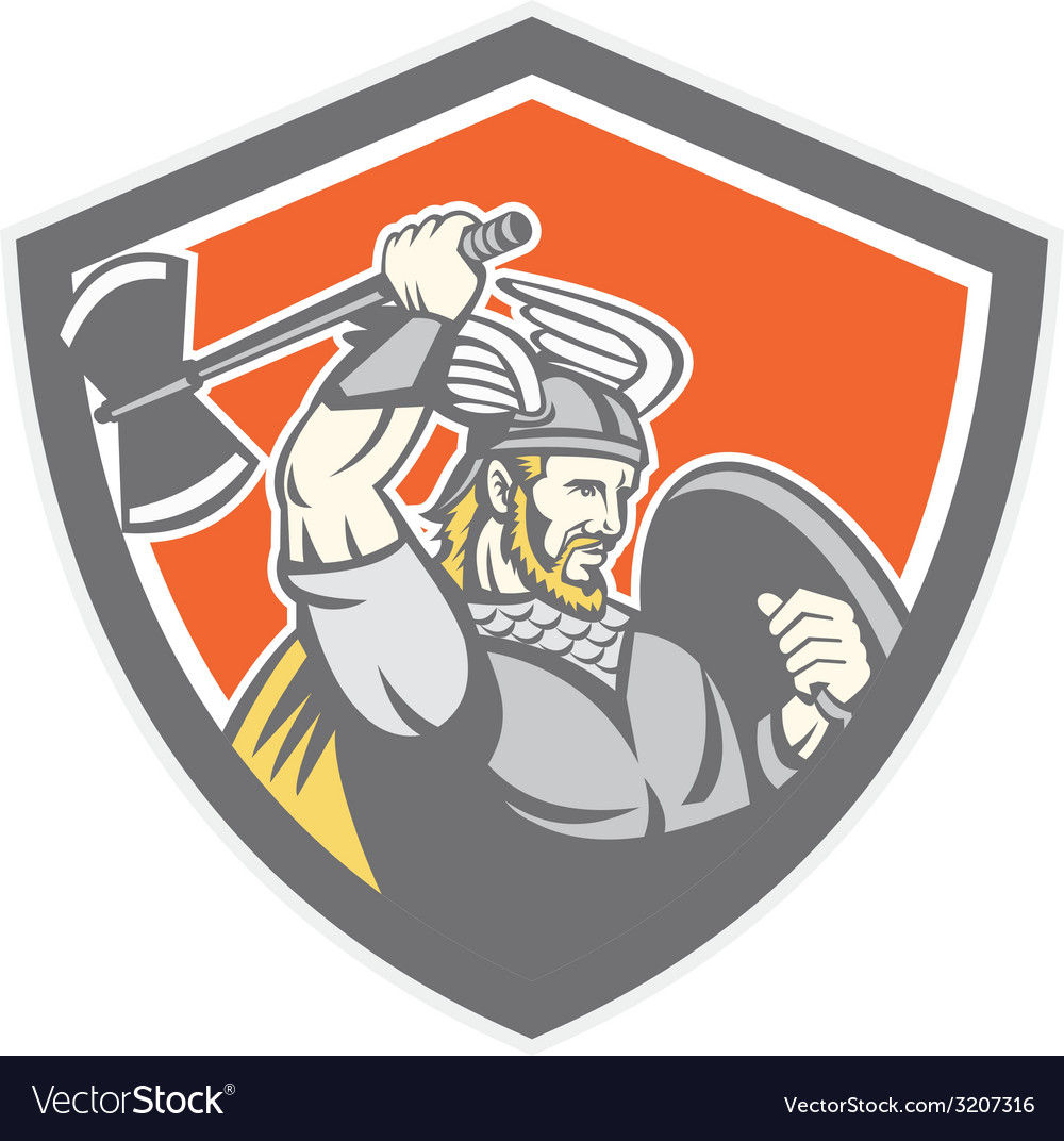 Viking raider barbarian warrior axe shield vector | Price: 1 Credit (USD $1)