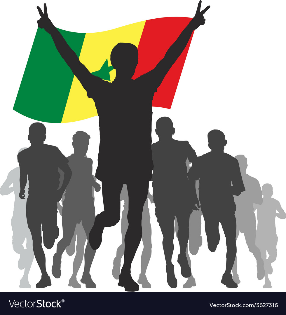 Winner with the senegal flag at the finish vector   Price: 1 Credit (USD $1)