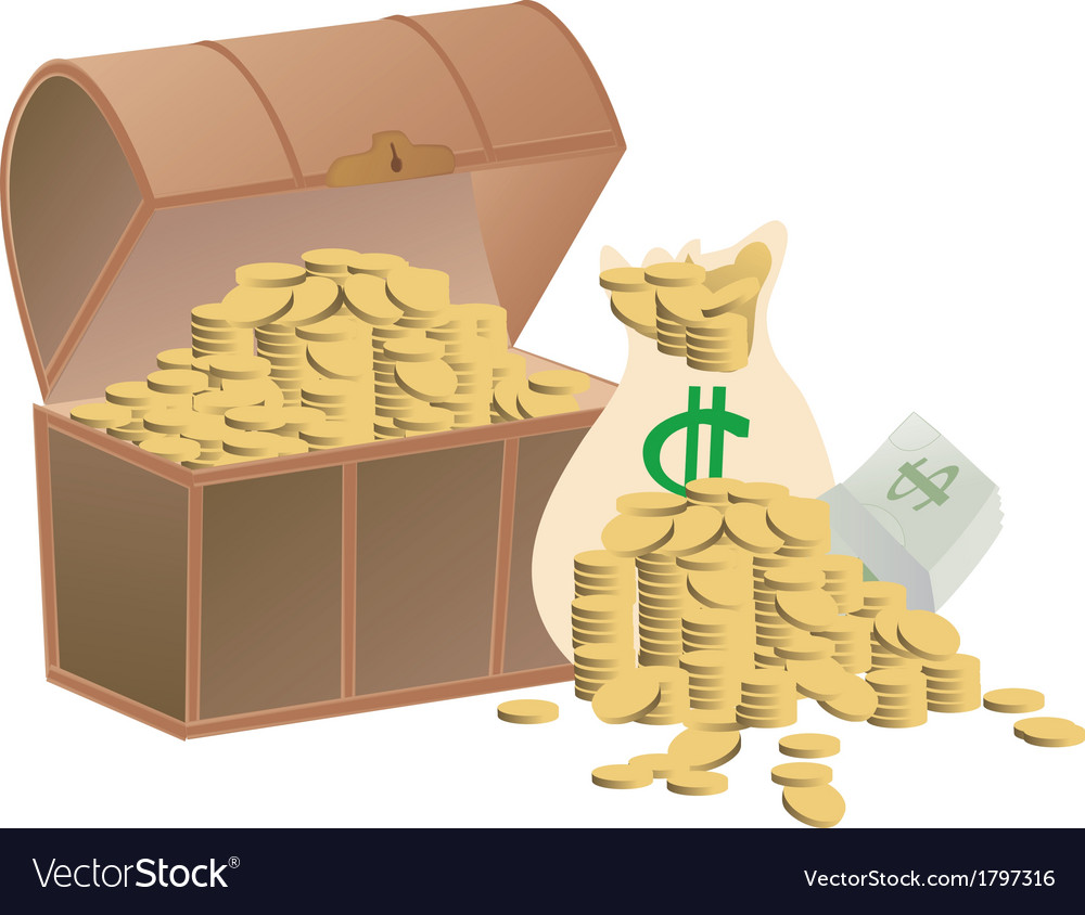 Wooden treasure chest loaded with golden coins vector | Price: 1 Credit (USD $1)