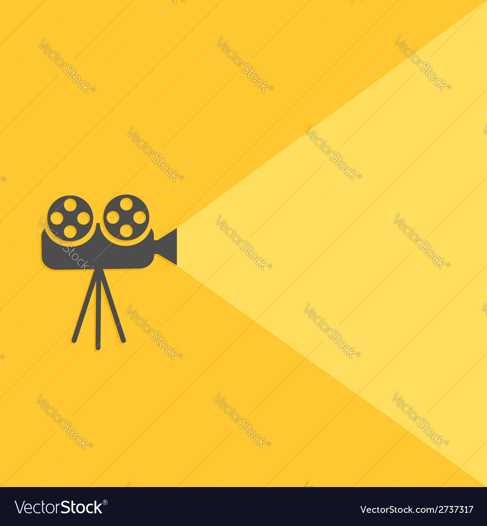 Cinema projector with light flat design vector | Price: 1 Credit (USD $1)