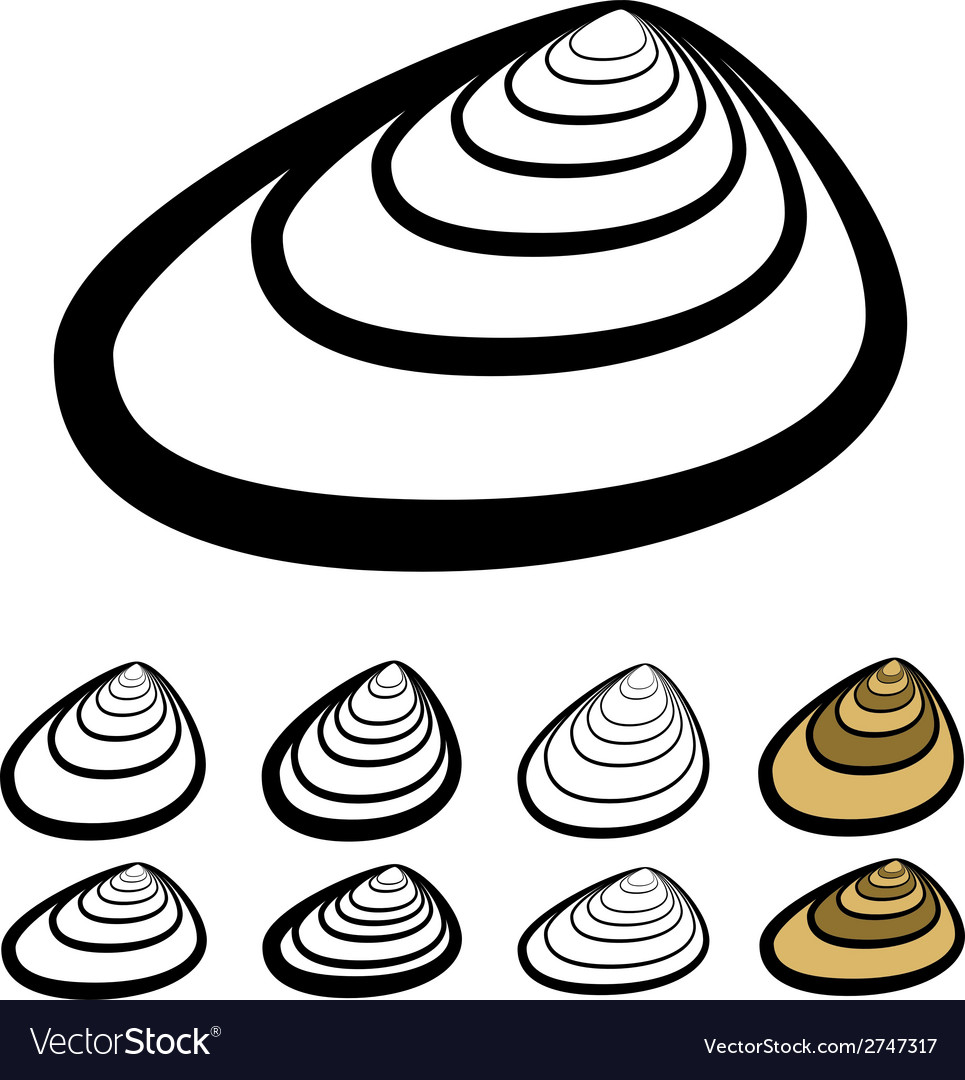 Clam shell silhouettes vector | Price: 1 Credit (USD $1)