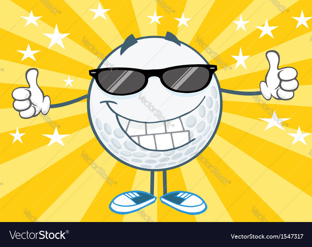 Cool golf ball with sunglasses vector | Price: 1 Credit (USD $1)