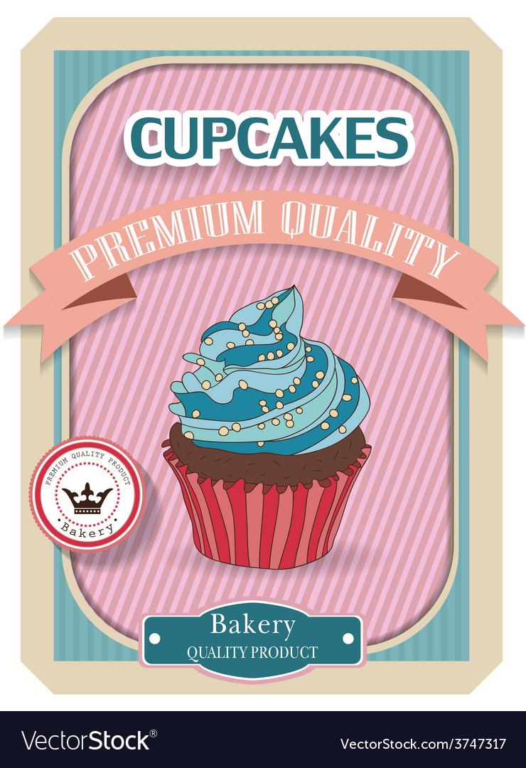 Cupcake poster retro vintage design vector