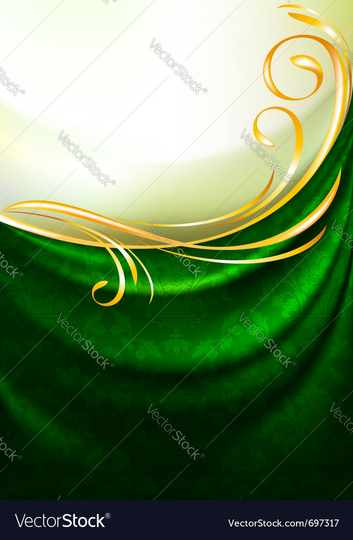 Green fabric curtain vector | Price: 1 Credit (USD $1)