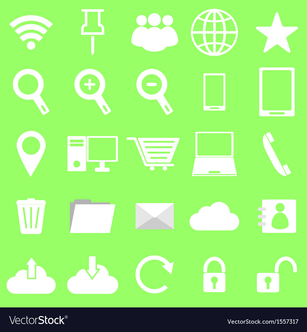 Internet icons on green background vector | Price: 1 Credit (USD $1)