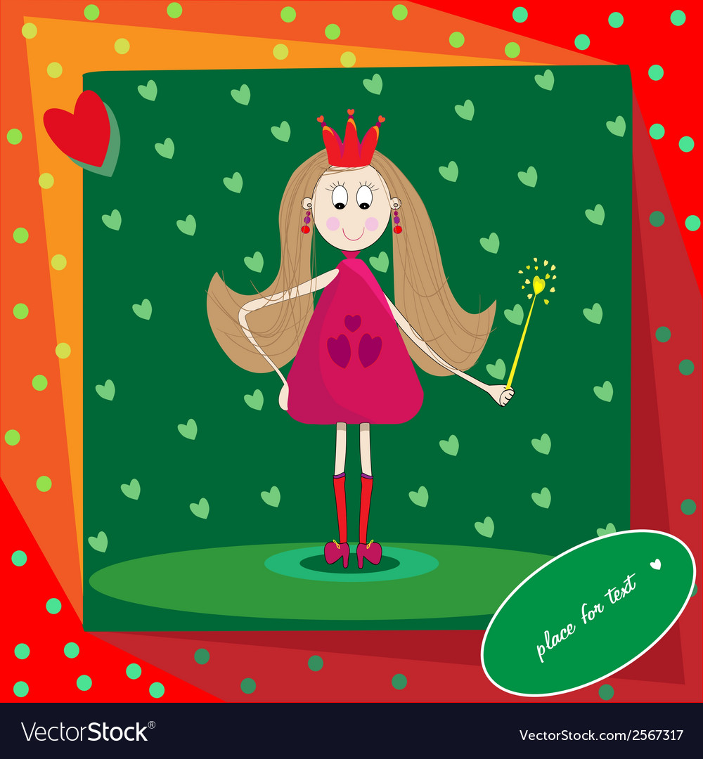 Little princess with magic wand and hearts vector | Price: 1 Credit (USD $1)