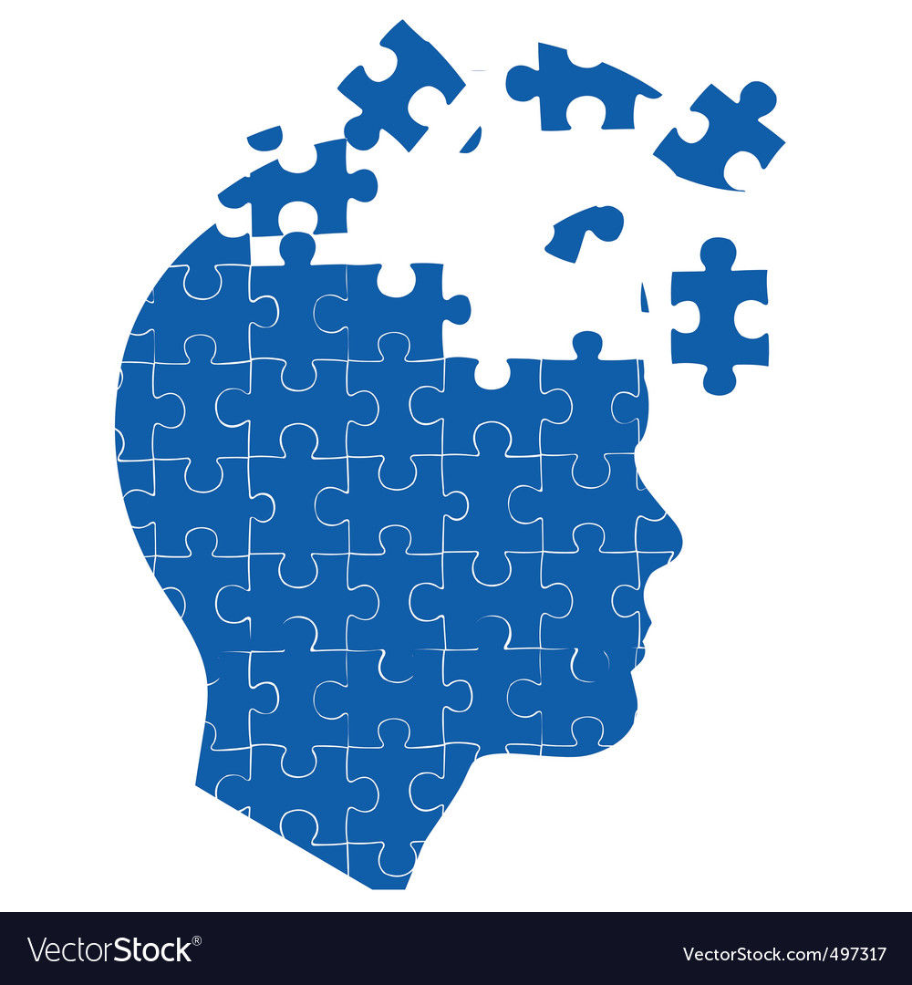 Mans mind with jigsaw puzzle vector | Price: 1 Credit (USD $1)