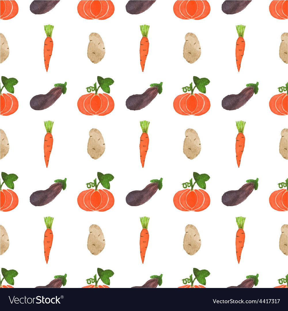 Seamless watercolor pattern with veggies on the vector | Price: 1 Credit (USD $1)
