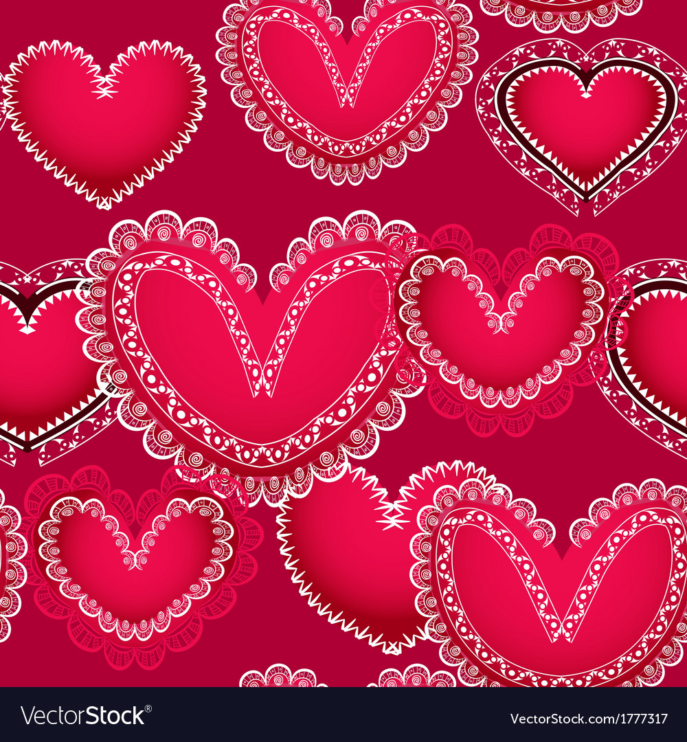 Valentine red hearts seamless background vector | Price: 1 Credit (USD $1)