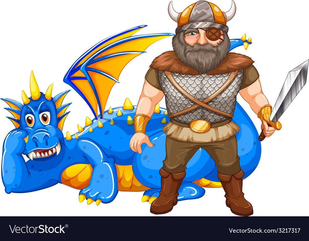 Viking and dragon vector | Price: 1 Credit (USD $1)