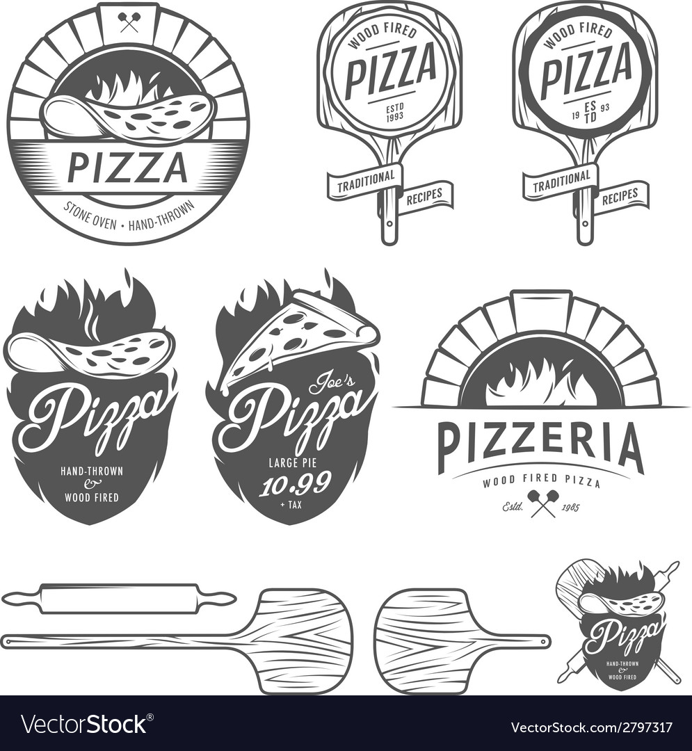 Vintage pizzeria labels badges design elements vector | Price: 1 Credit (USD $1)