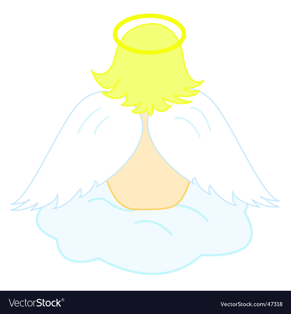 Baby angel sitting on cloud vector | Price: 1 Credit (USD $1)