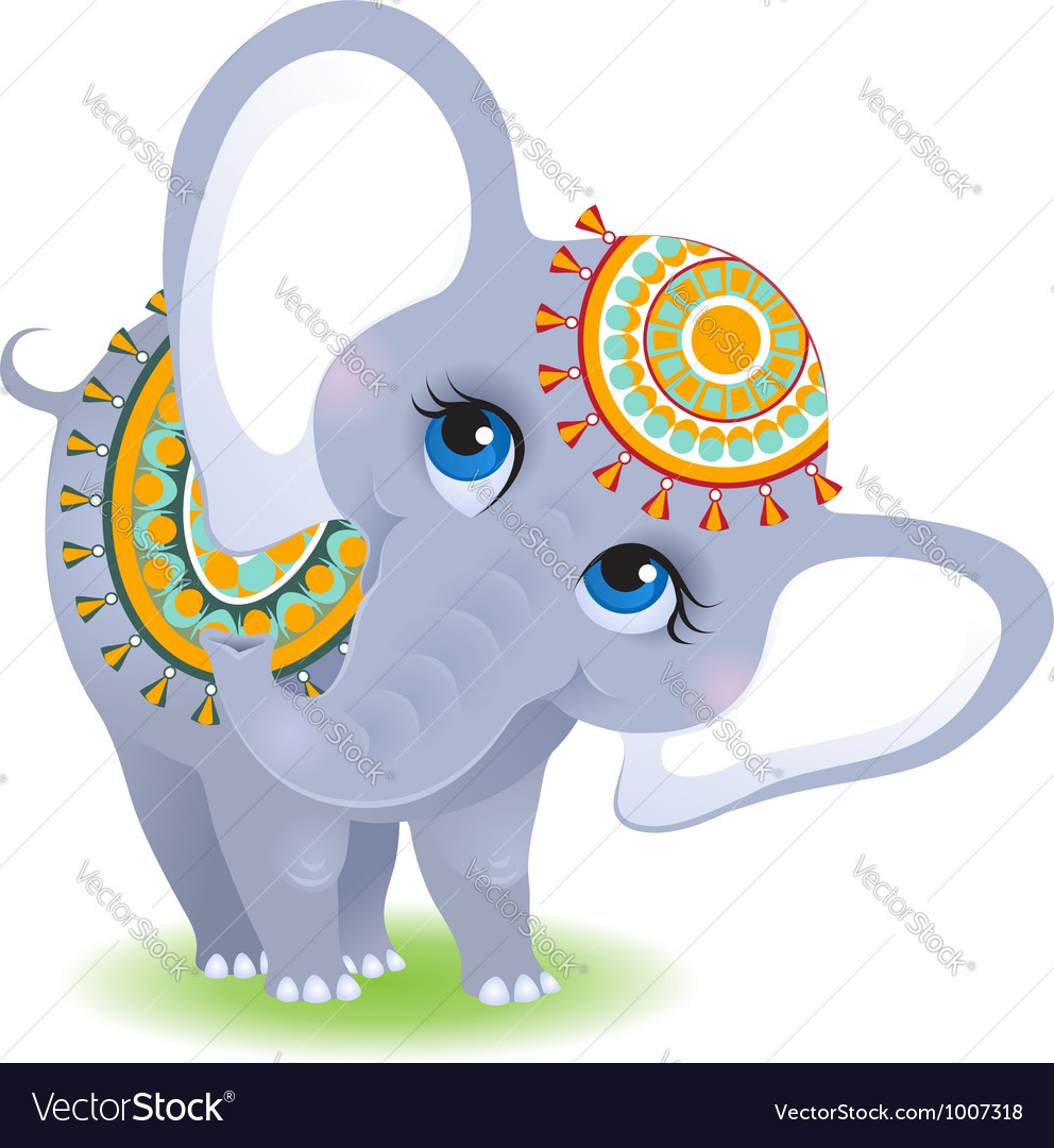 Baby elephant isolated on white background vector | Price: 1 Credit (USD $1)