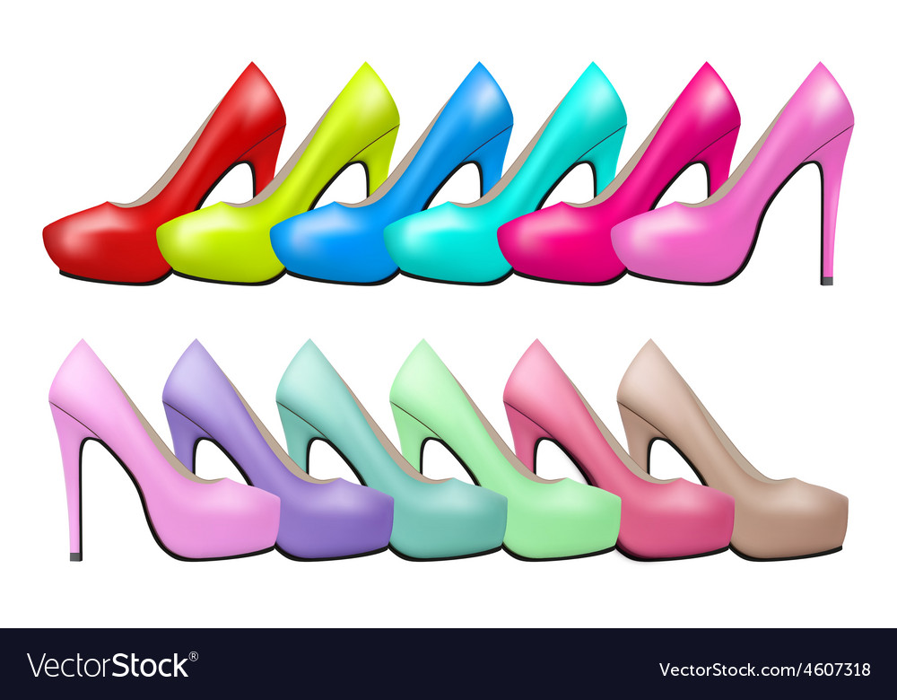 Background of bright modern and vintage high heels vector | Price: 1 Credit (USD $1)