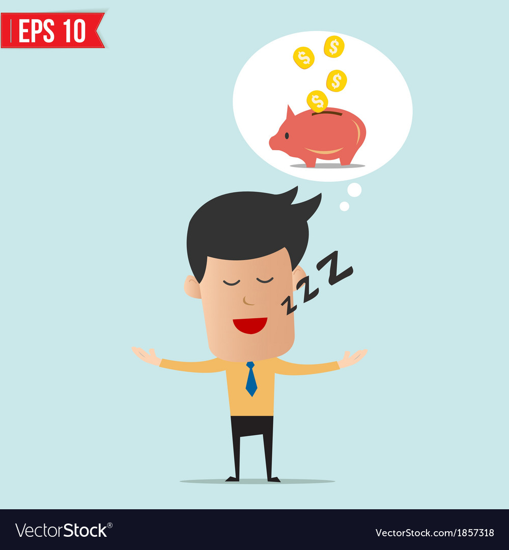 Business man daydream about money vector   Price: 1 Credit (USD $1)