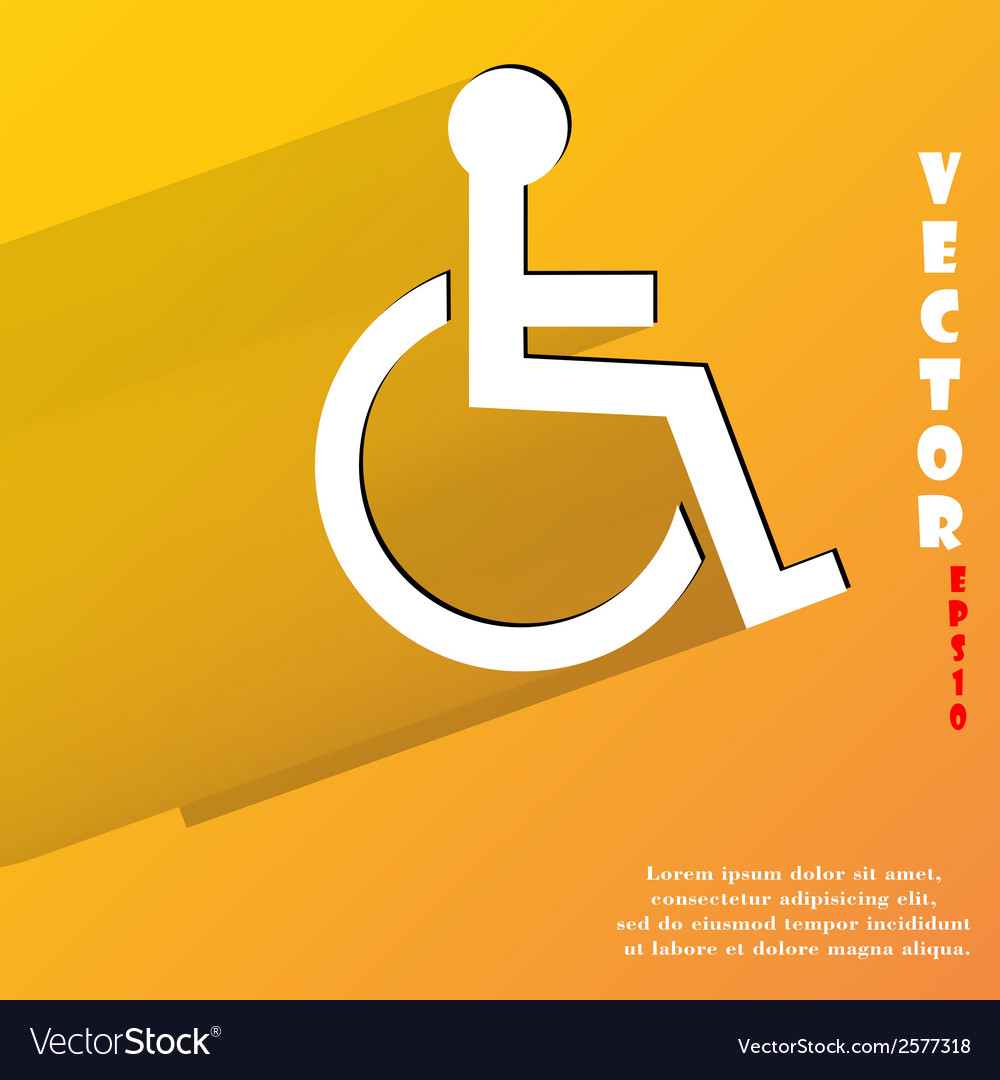 Disabled flat modern web button with long shadow vector   Price: 1 Credit (USD $1)