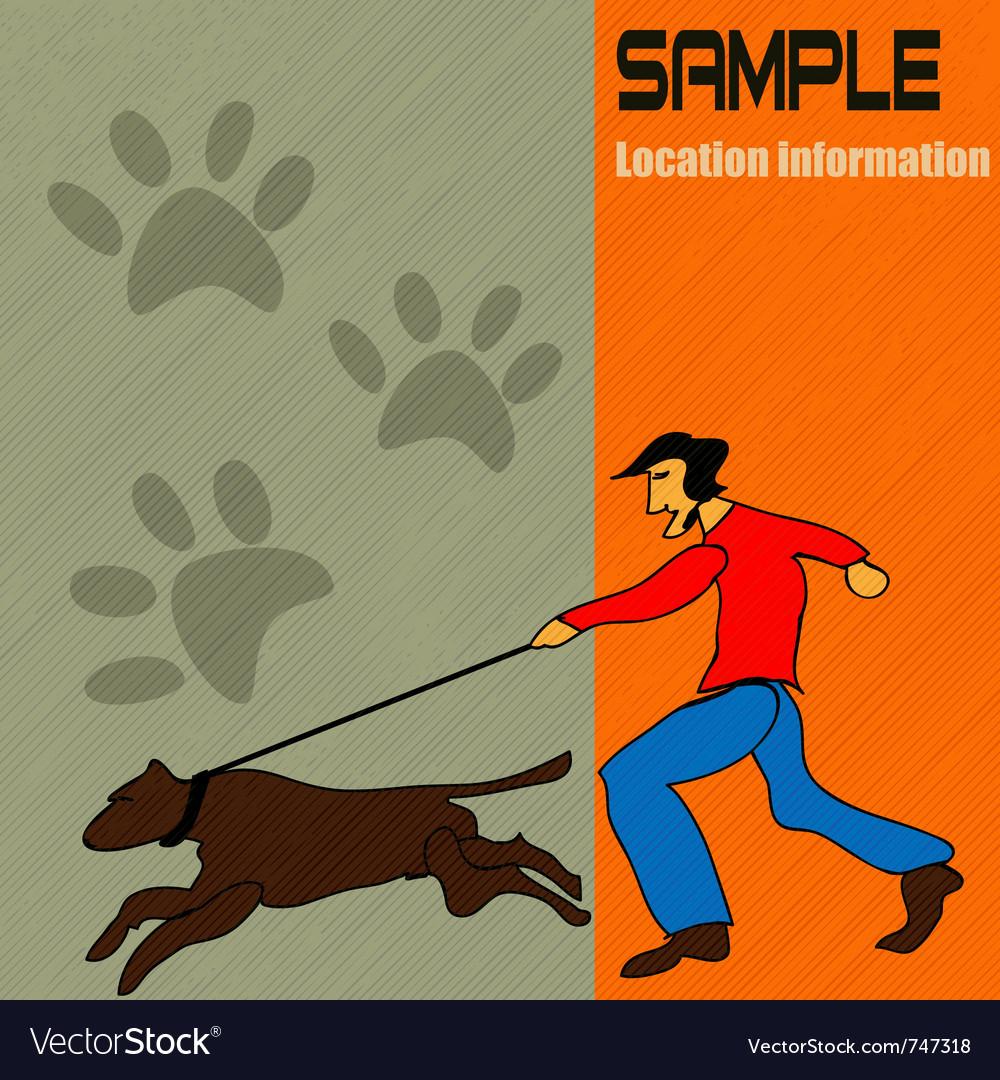 Dog walking vector | Price: 1 Credit (USD $1)