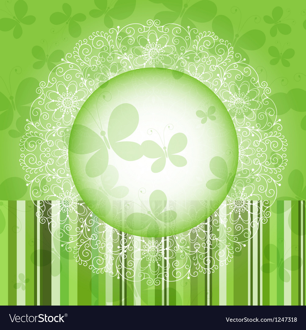 Green spring round frame vector | Price: 1 Credit (USD $1)