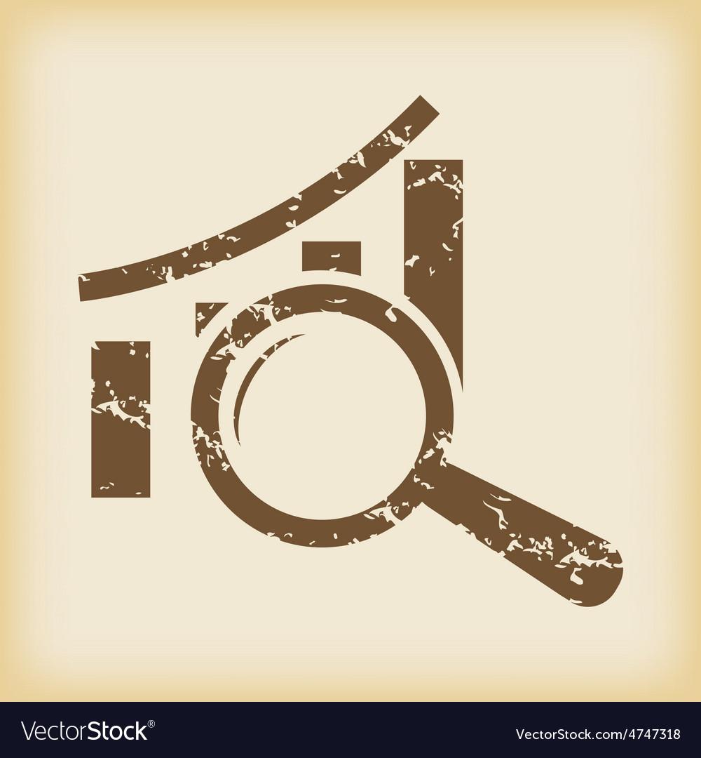 Grungy graph examination icon vector | Price: 1 Credit (USD $1)