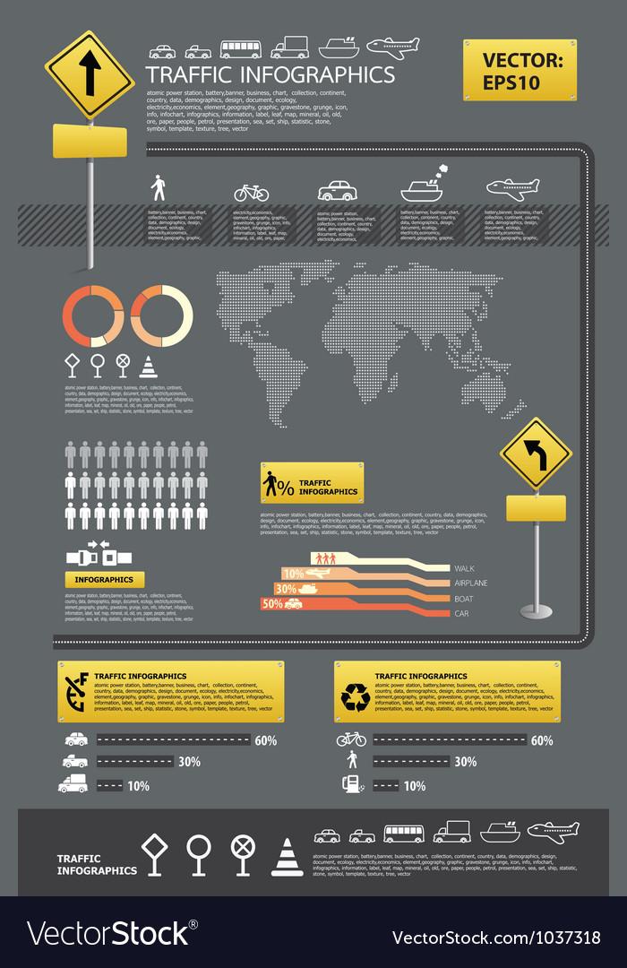 Infographic traffic set vector | Price: 1 Credit (USD $1)
