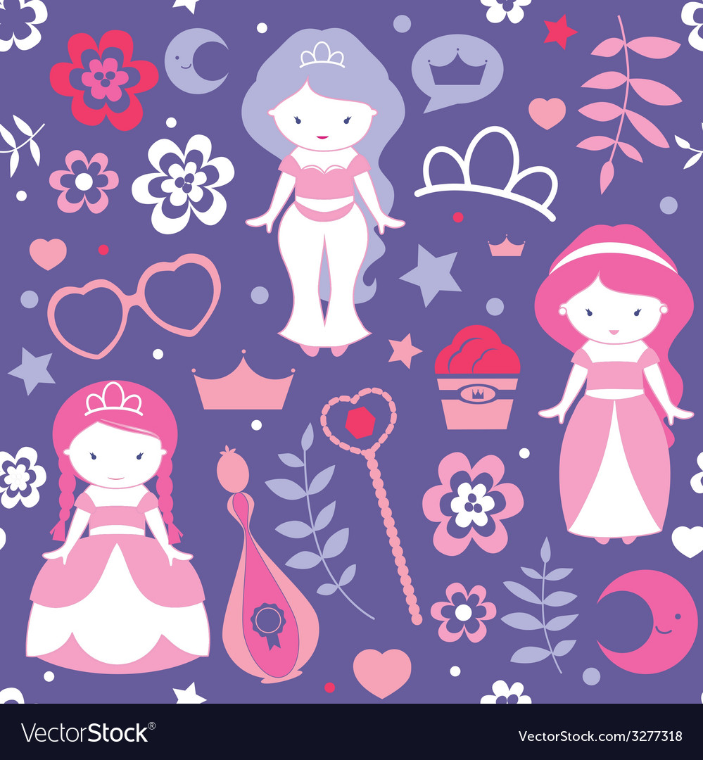 Pattern with cute princesses vector | Price: 1 Credit (USD $1)
