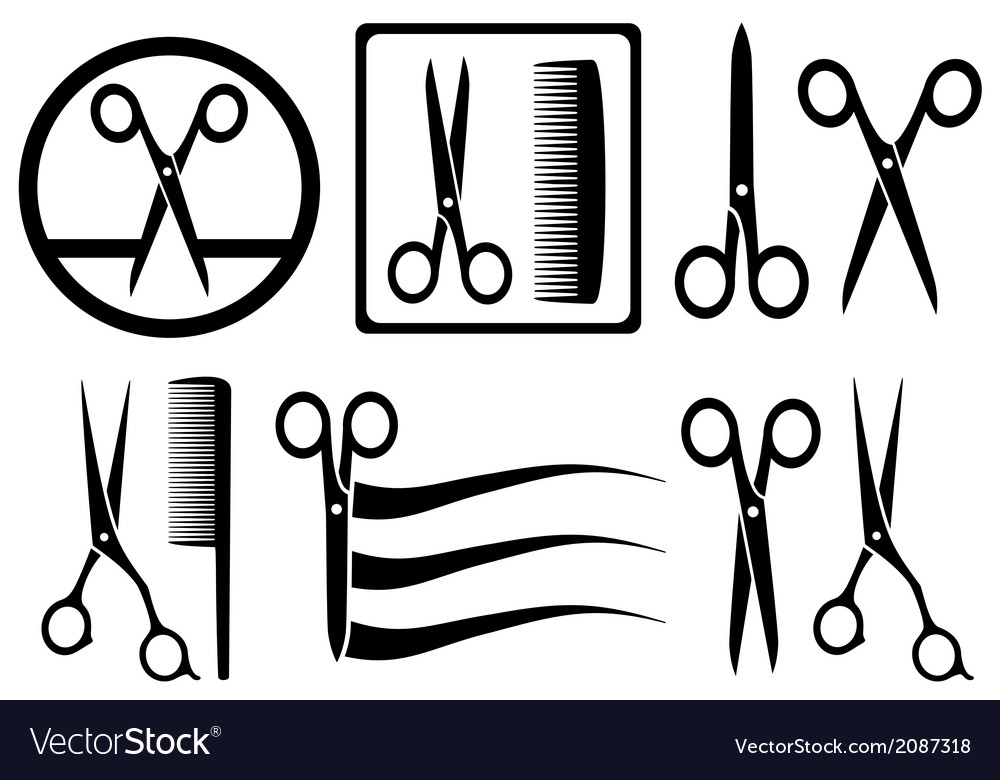 Scissors icons with comb for hair salon vector | Price: 1 Credit (USD $1)