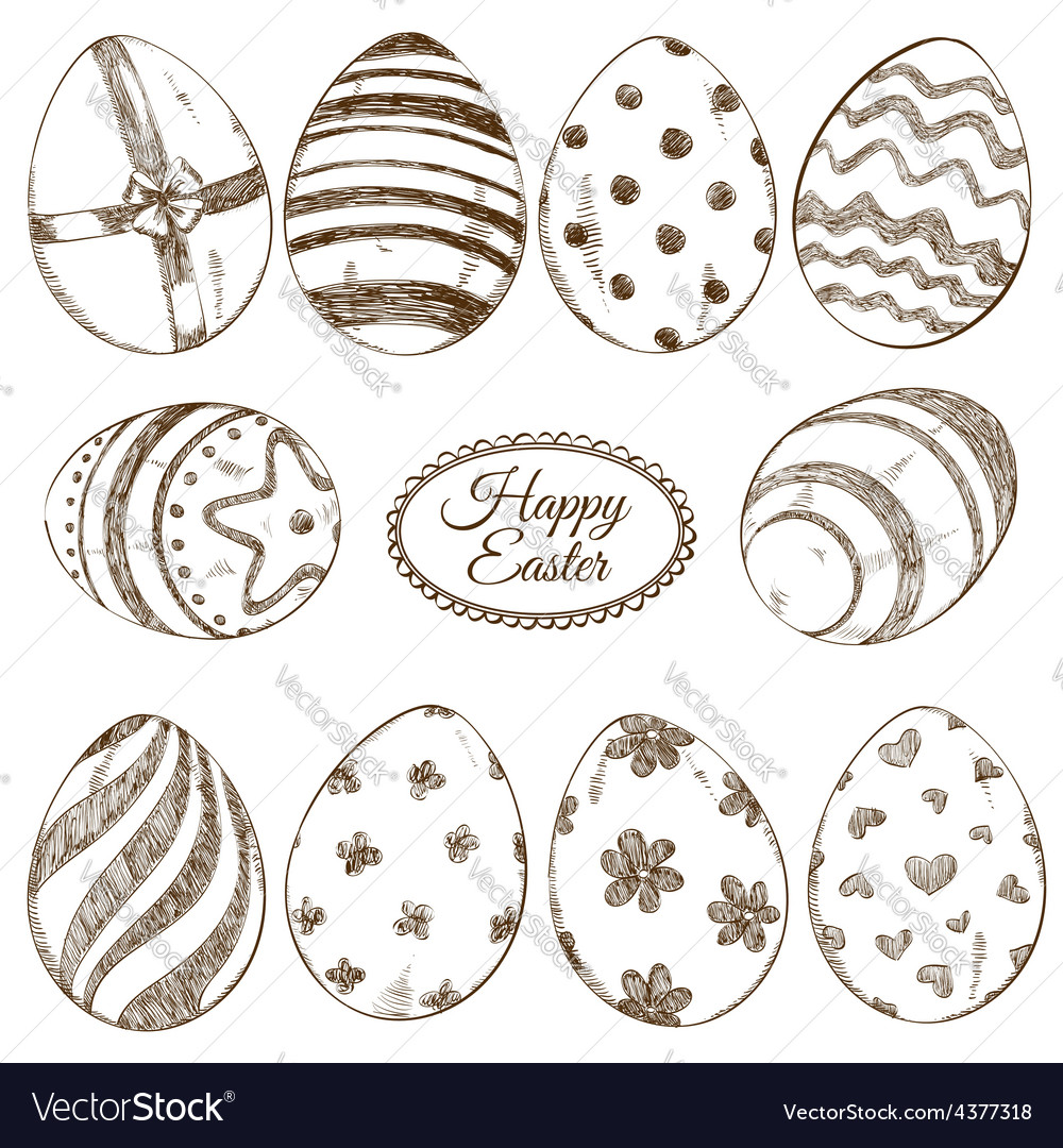 Set of sketch easter eggs icons vector   Price: 1 Credit (USD $1)
