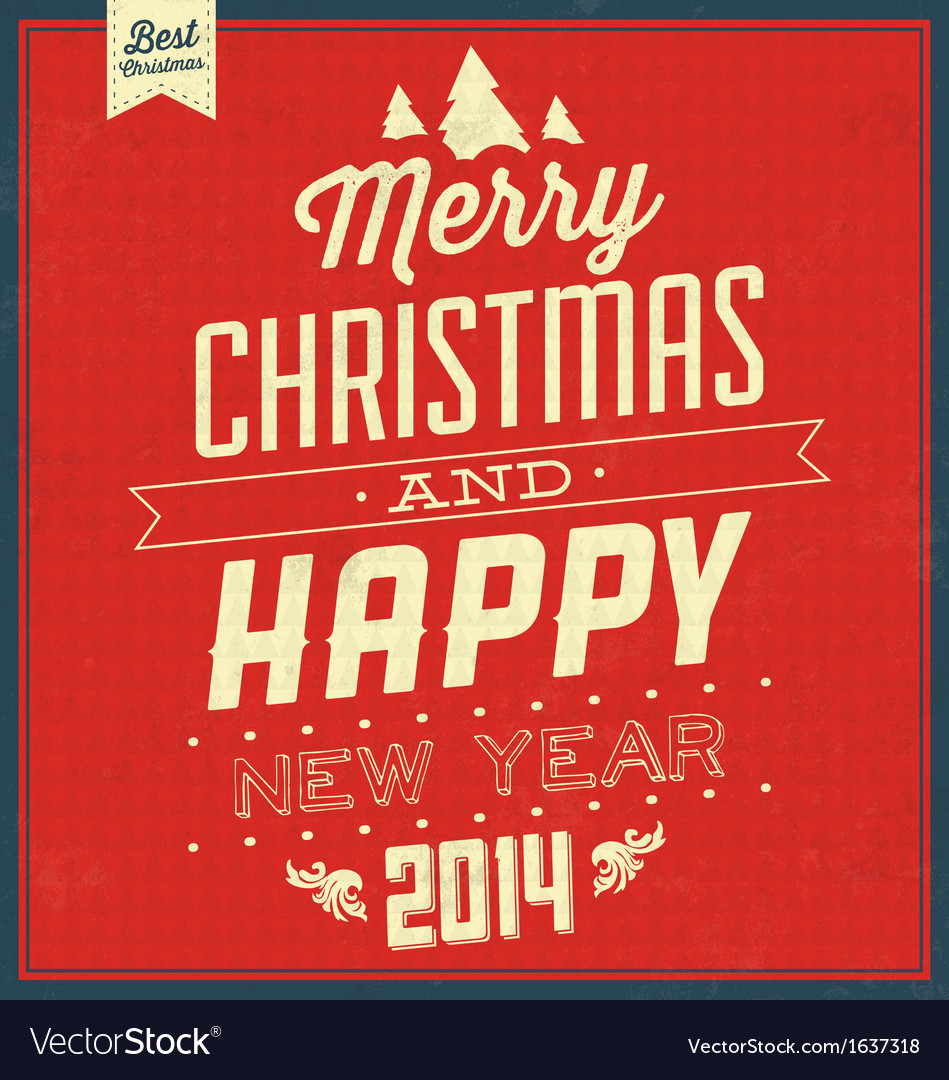 Typographic christmas vintage background vector | Price: 1 Credit (USD $1)