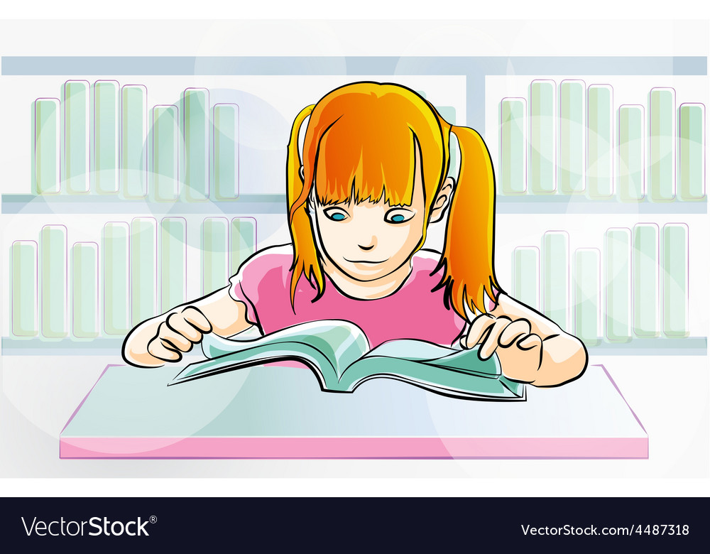 Young girl reading a book vector   Price: 1 Credit (USD $1)