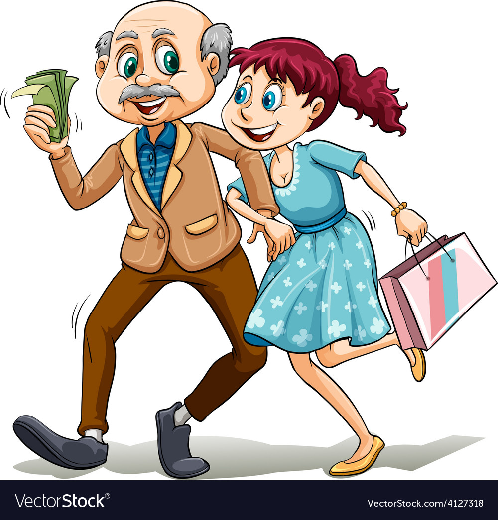 Young lady with her sugar daddy vector | Price: 3 Credit (USD $3)
