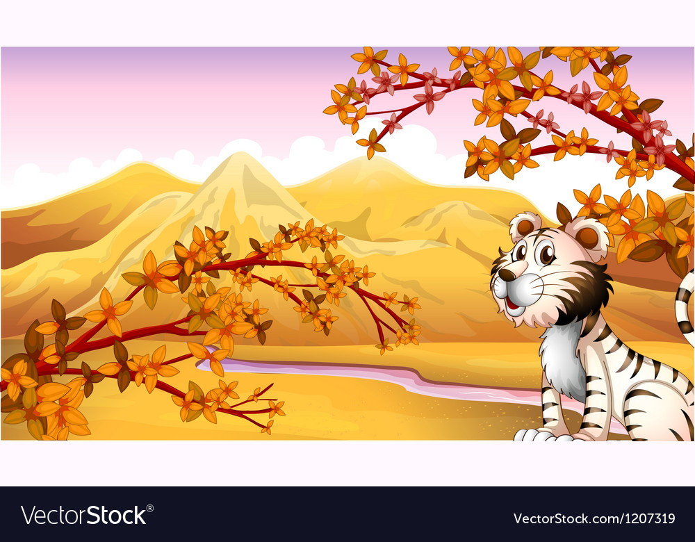 A tiger beside the river vector | Price: 1 Credit (USD $1)
