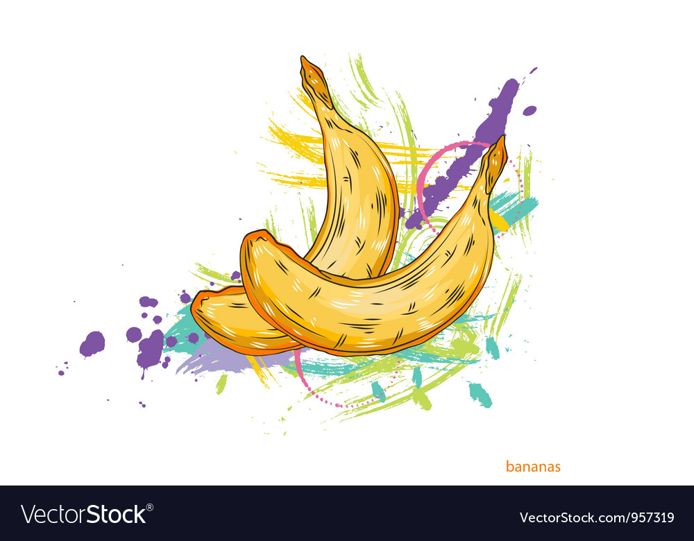 Bananas with colorful splashes vector | Price: 1 Credit (USD $1)