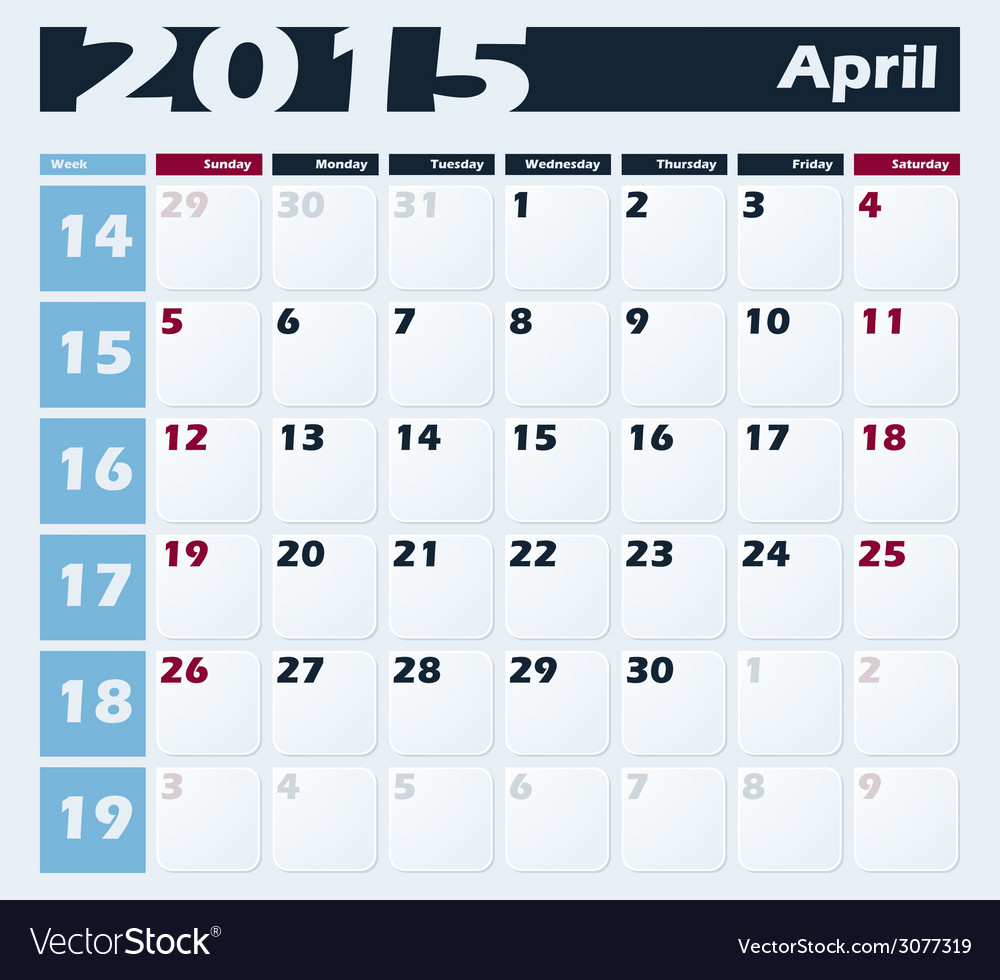 Calendar 2015 april design template vector | Price: 1 Credit (USD $1)