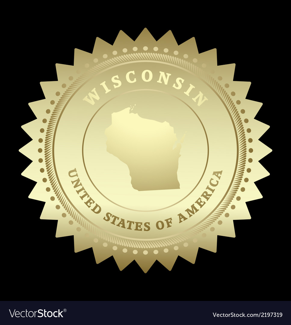 Gold star label wisconsin vector | Price: 1 Credit (USD $1)