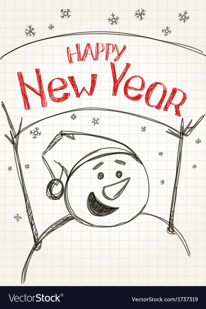 Happy new year from snowman vector | Price: 1 Credit (USD $1)