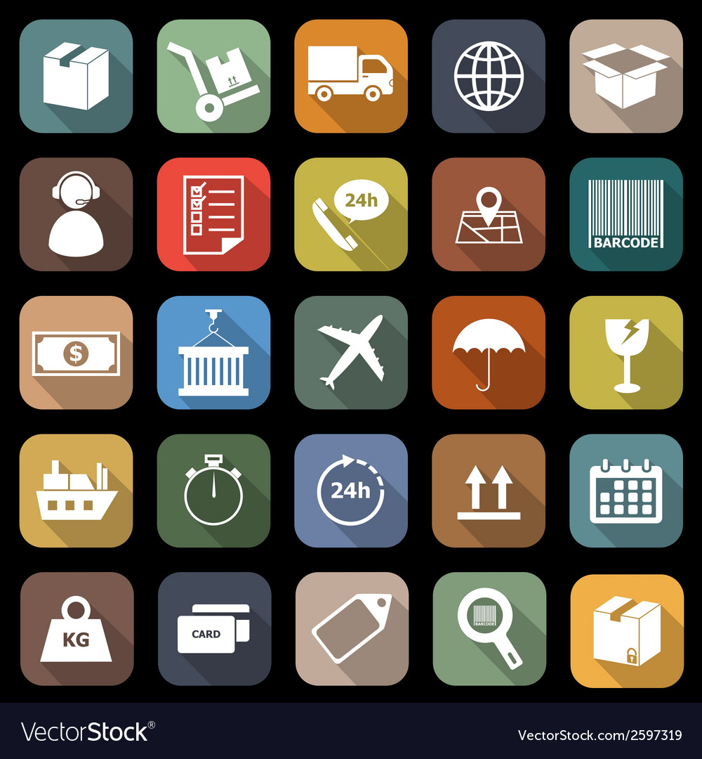 Logistics falt icons with long shadow vector | Price: 1 Credit (USD $1)