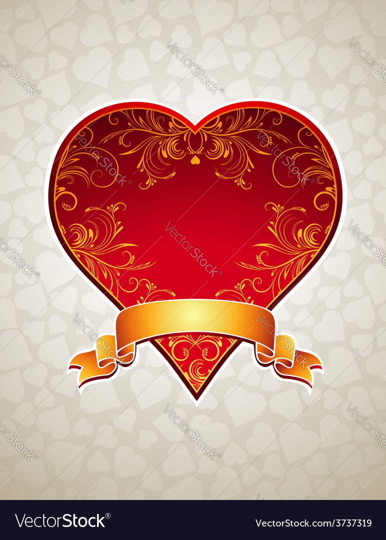 Lovely red heart with golden ribbon vector | Price: 1 Credit (USD $1)