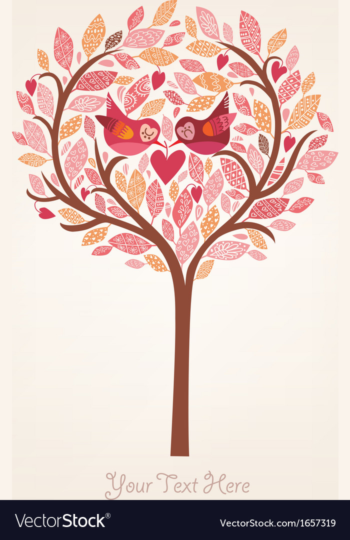 Pink romantic background with birds in love vector | Price: 1 Credit (USD $1)