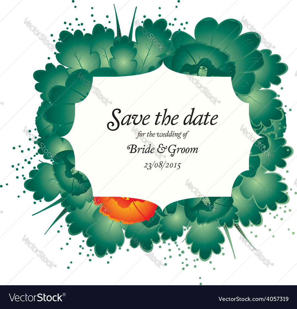 Save the date wedding invite card vector | Price: 1 Credit (USD $1)