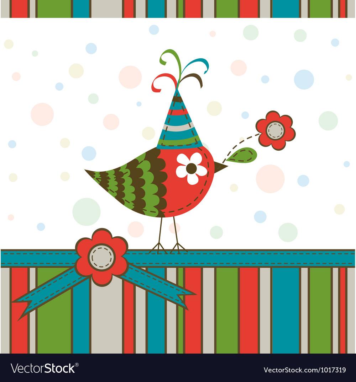 Scrapbook bird greeting card vector | Price: 1 Credit (USD $1)