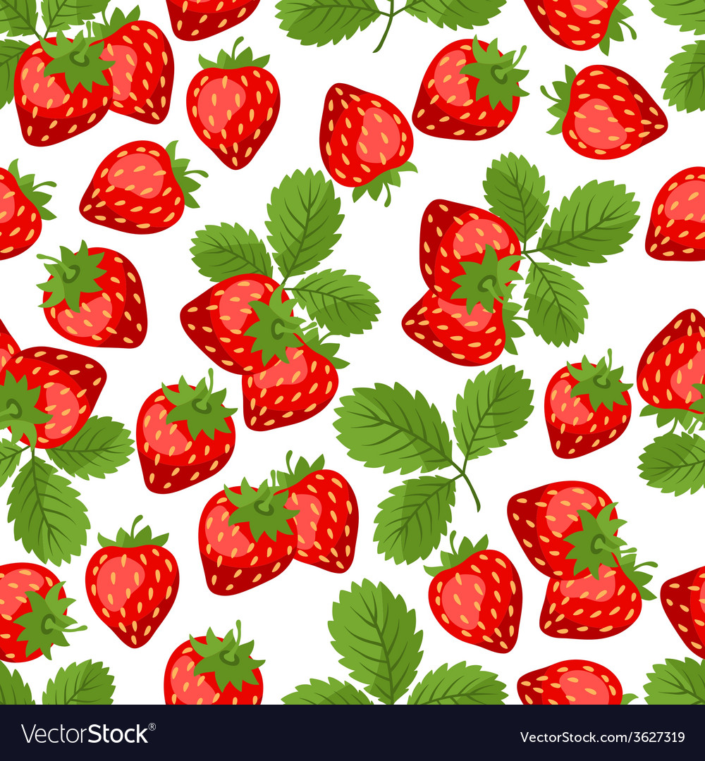 Seamless nature pattern with strawberries vector | Price: 1 Credit (USD $1)