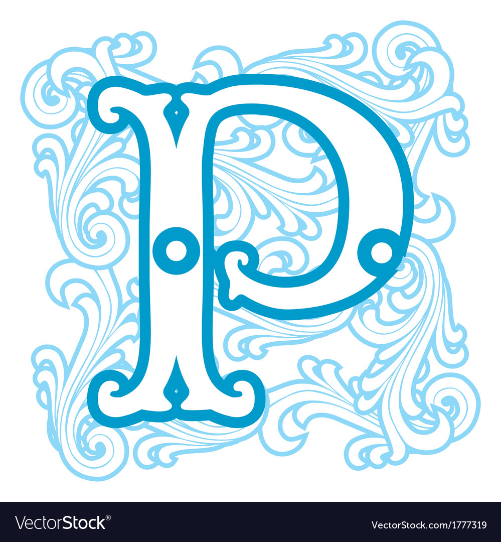 Winter vintage letter p vector | Price: 1 Credit (USD $1)