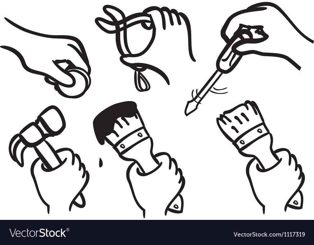 Working hand vector | Price: 1 Credit (USD $1)