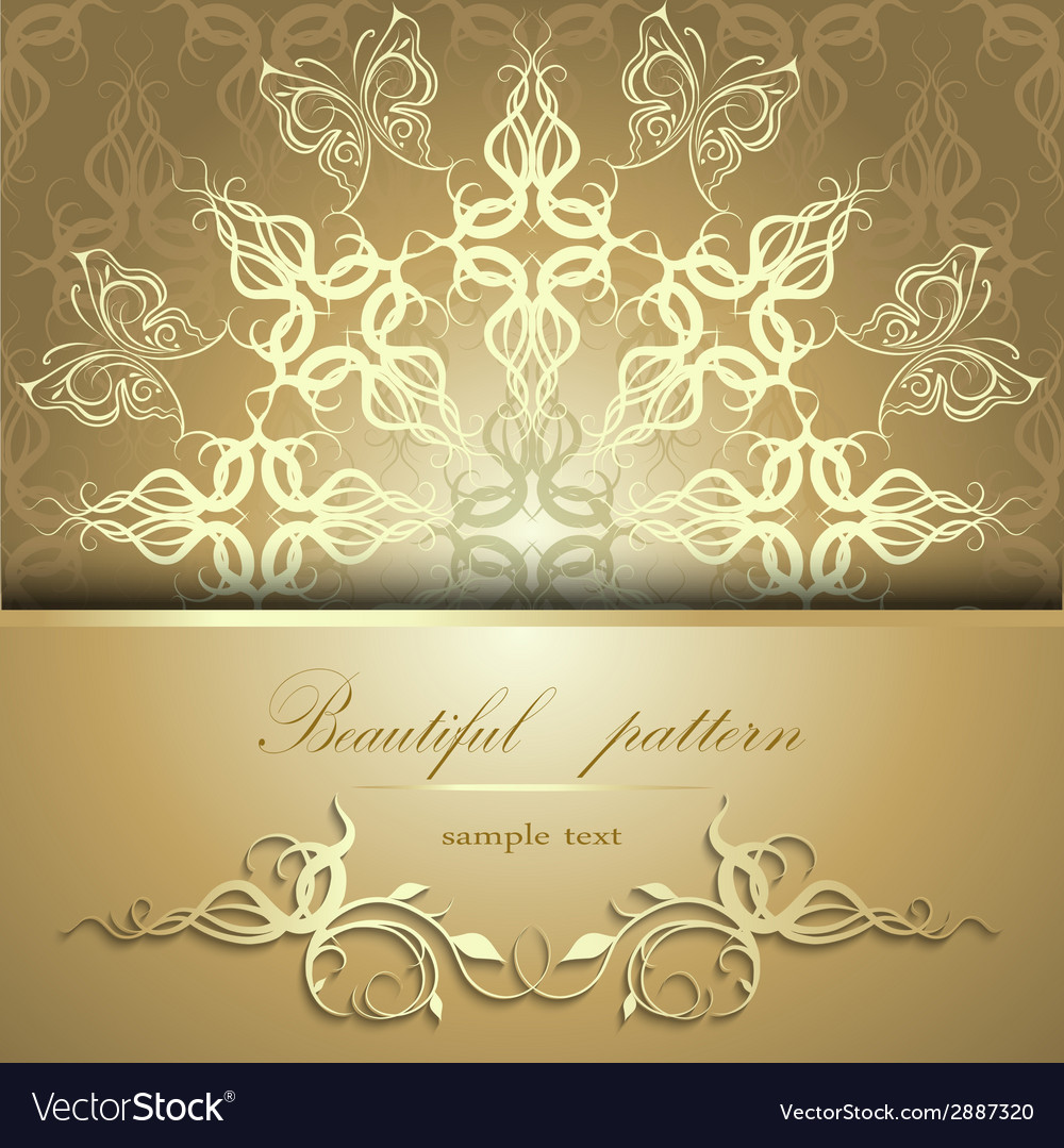 Calligraphic pattern with butterflies vector | Price: 1 Credit (USD $1)
