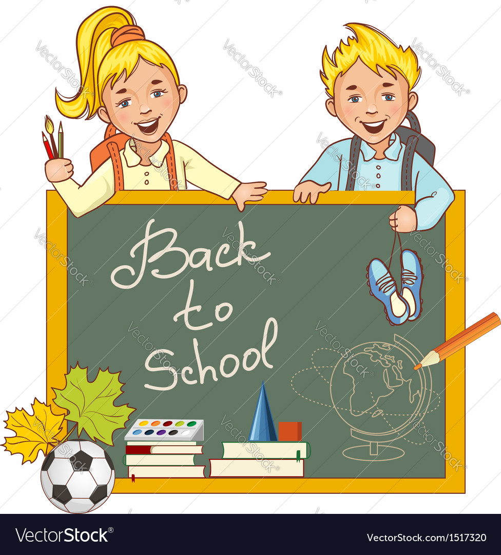 Cartoon schoolgirl and schoolboy at the blackboard vector | Price: 3 Credit (USD $3)