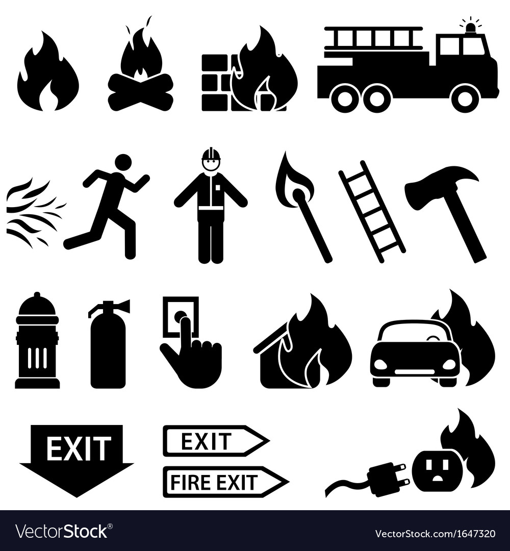 Fire fighters icons vector | Price: 1 Credit (USD $1)